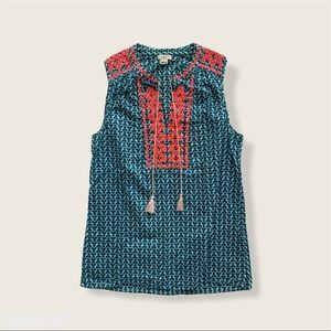 J Crew Embroidered Tank Top With Tassels